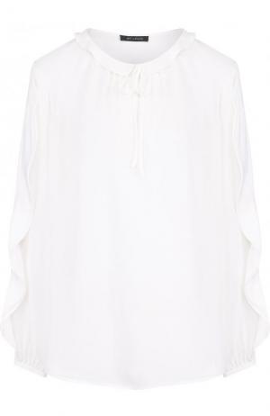 Однотонная шелковая блуза с оборками St. John. Цвет: белый