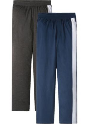 Брюки пижамные из трикотажа (2 шт.) (антрацитовый меланж/темно-синий) bonprix. Цвет: антрацитовый меланж/темно-синий