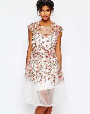 Body Frock Платье с вышитыми розами Wedding. Цвет: мульти