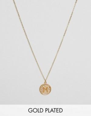 Ottoman Hands Ожерелье с инициалом М на подвеске. Цвет: золотой