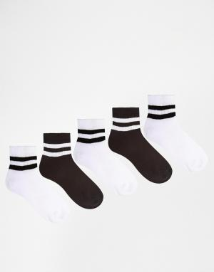 Urban Eccentric 5 пары укороченных спортивных носков. Цвет: мульти
