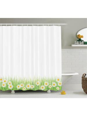 Фотоштора для ванной Ирисы и бабочки, денежный дождь, белые ромашки, бамбук, 180x200 см Magic Lady. Цвет: белый, желтый, зеленый