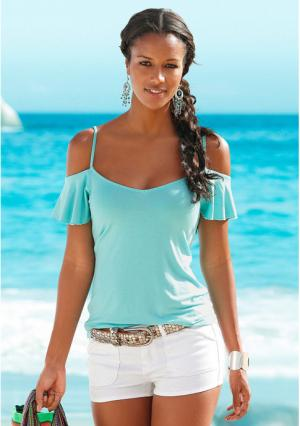 Пляжный топ Lascana. Цвет: белый, нежно-зеленый, черный