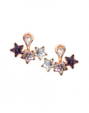 Серьги из латуни с кристаллами Ca&Lou. Цвет: золотой, фиолетовый, сиреневый, голубой