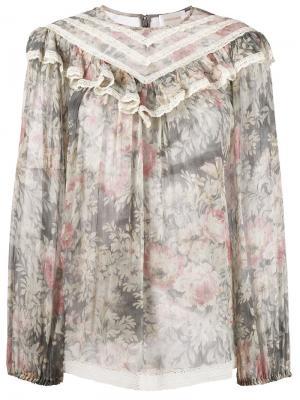 Блузка с цветочным принтом Zimmermann. Цвет: многоцветный