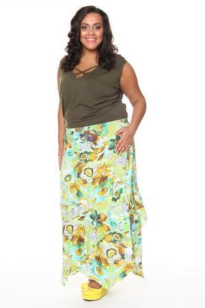 Асимметричная юбка с принтом Shalle. Цвет: салатовый