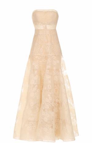 Приталенное кружевное платье-бюстье Basix Black Label. Цвет: бежевый