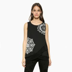 Блузка с круглым вырезом и графичным рисунком без рукавов DESIGUAL. Цвет: черный