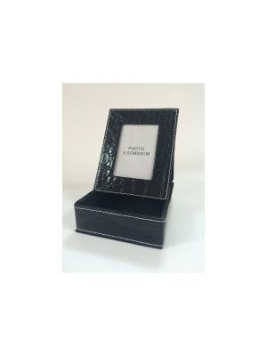 Подставка для бумаги с рамкой фотографии на крышке, из ПВХ. 12х9.5х3.8 см Magic Home. Цвет: черный