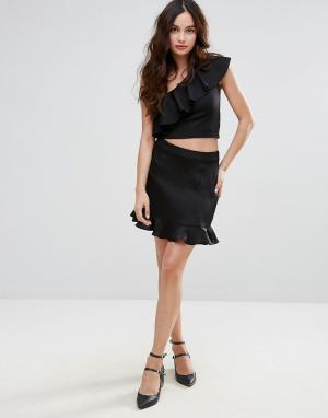 Fashion Union Мини-юбка с оборкой по краю. Цвет: черный