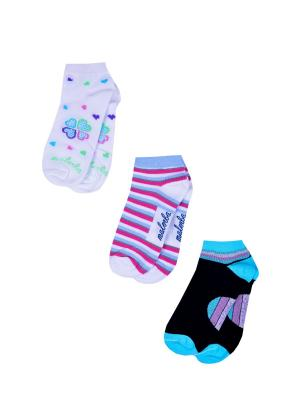 Носки женские,комплект 3шт Malerba. Цвет: черный, белый