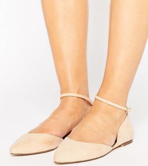 Faith Wide Fit Туфли на плоской подошве для широкой стопы с ремешком вокруг щиколотки. Цвет: розовый