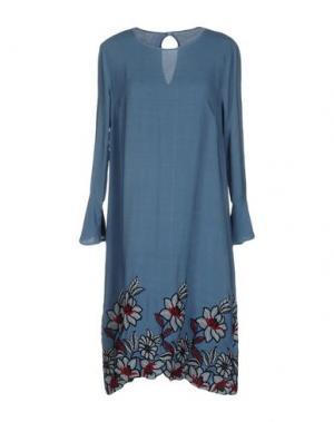 Платье до колена LA FABBRICA DEL LINO. Цвет: пастельно-синий