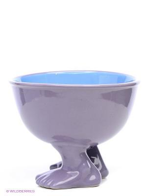 Миска (тарелка) средняя на ножках Efeet Collection. Цвет: лиловый
