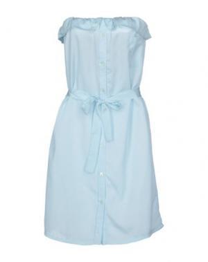 Короткое платье BEAYUKMUI. Цвет: небесно-голубой
