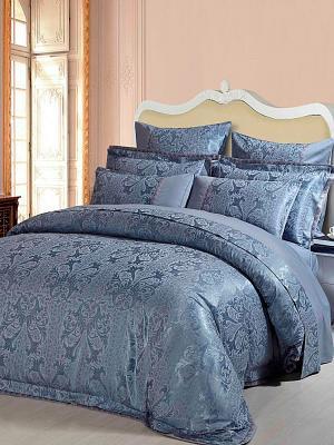 Постельное белье семейное, жаккард. сатин, 2 нав. 50х70, вышивка, темно-голубой Asabella. Цвет: серо-голубой