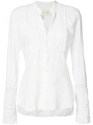 Блузка с кружевными вставками Greg Lauren. Цвет: белый