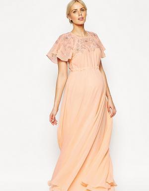 ASOS Maternity Декорированное платье макси для беременных с рукавами‑бабочка Mat. Цвет: розовый