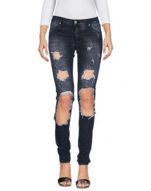 Джинсовые брюки PLEASE. Цвет: стальной серый