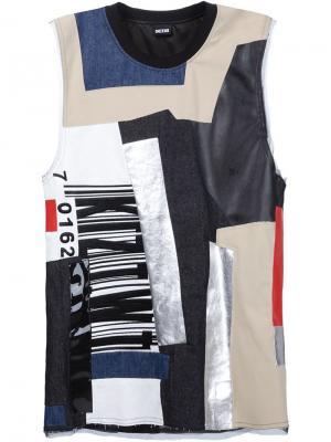 Лоскутная футболка KTZ. Цвет: чёрный