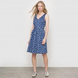 Платье короткое с рисунком ананас R édition. Цвет: рисунок/синий фон