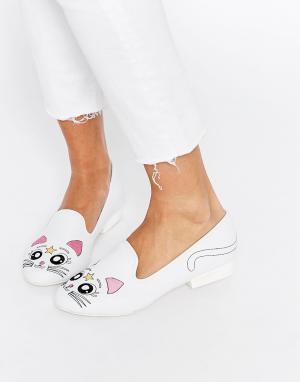 YRU Туфли-слиперы с кошками Luna. Цвет: белый
