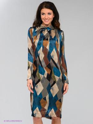Платье Levall. Цвет: морскаяволна, бежевый