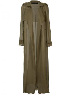 Sheer trench jacket Sally Lapointe. Цвет: зелёный