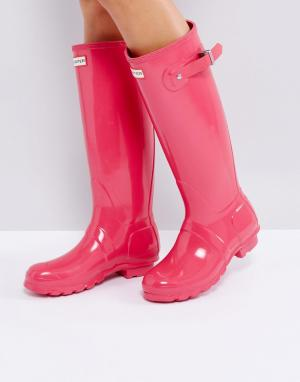 Hunter Розовые блестящие резиновые сапоги Original Tall. Цвет: розовый