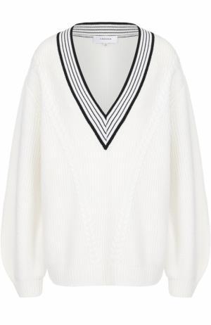 Пуловер свободного кроя с V-образным вырезом Carven. Цвет: белый