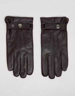 Peter Werth Классические коричневые кожаные перчатки. Цвет: черный