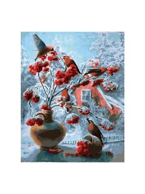 Роспись холста по номерам ЗИМНЯЯ СКАЗКА КРЕАТТО. Цвет: белый, голубой, красный