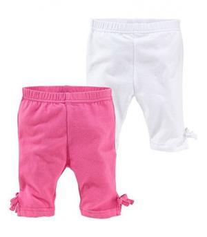 Маленькие леггинсы-капри для девочек в двойной упаковке KLITZEKLEIN. Цвет: розовый + белый