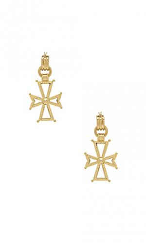 Серьги с подвесками в виде крестов mattan Luv AJ. Цвет: металлический золотой