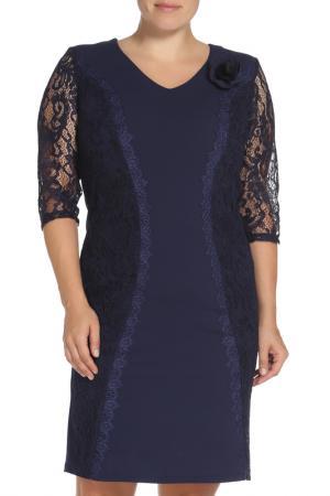 Полуприлегающее платье с брошью BlagoF. Цвет: темно-синий