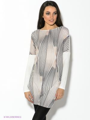 Платье Oodji. Цвет: светло-бежевый