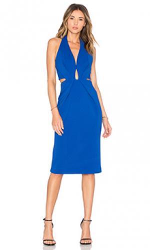 Платье на бретельках с вырезом NICHOLAS. Цвет: синий