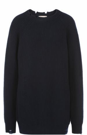 Удлиненный пуловер свободного кроя с круглым вырезом Erika Cavallini. Цвет: синий
