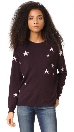 Кашемировый свитер с напуском Star Chinti and Parker. Цвет: темно-красный/пудровый розовый
