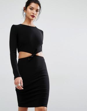 Bec & Bridge Платье с длинными рукавами Lucienne. Цвет: черный