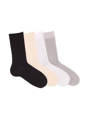 Носки, 4 пары Akos. Цвет: черный, бежевый, светло-серый