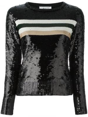 Джемпер декорированный пайетками Aviù. Цвет: чёрный