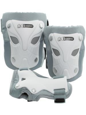 Набор защиты дл катани на роликах или скейтборде Re:action. Цвет: белый, серебристый