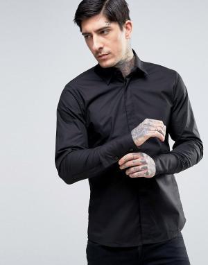 Rogues of London Облегающая эластичная рубашка. Цвет: черный