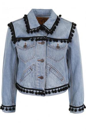 Джинсовая куртка с укороченным рукавом и потертостями Marc Jacobs. Цвет: голубой