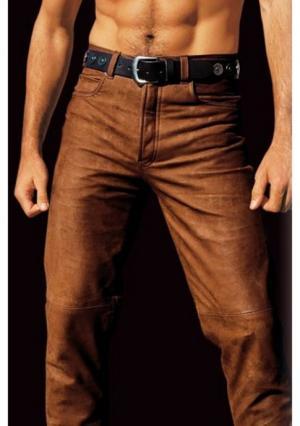 Кожаные брюки Arizona. Цвет: коньячный, черный