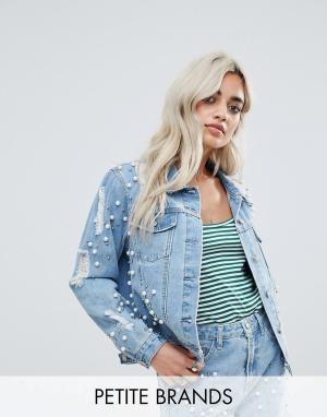 Glamorous Petite Декорированная джинсовая куртка. Цвет: синий