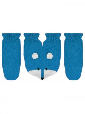 Варежки для влюбленных Knitto.ru. Цвет: лазурный