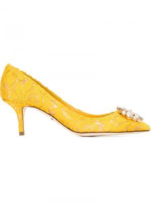 Кружевные туфли Dolce & Gabbana. Цвет: жёлтый и оранжевый