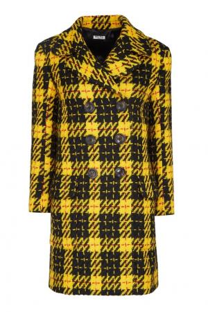 Пальто из рунной шерсти в клетку Miu. Цвет: multicolor